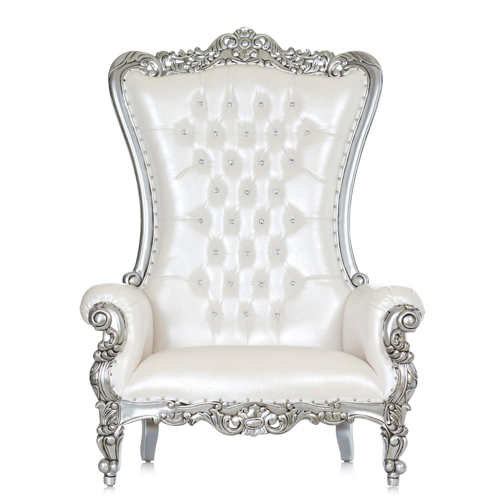 """Queen Tiffany""  Extra Wide Throne Chair - White / Silver"