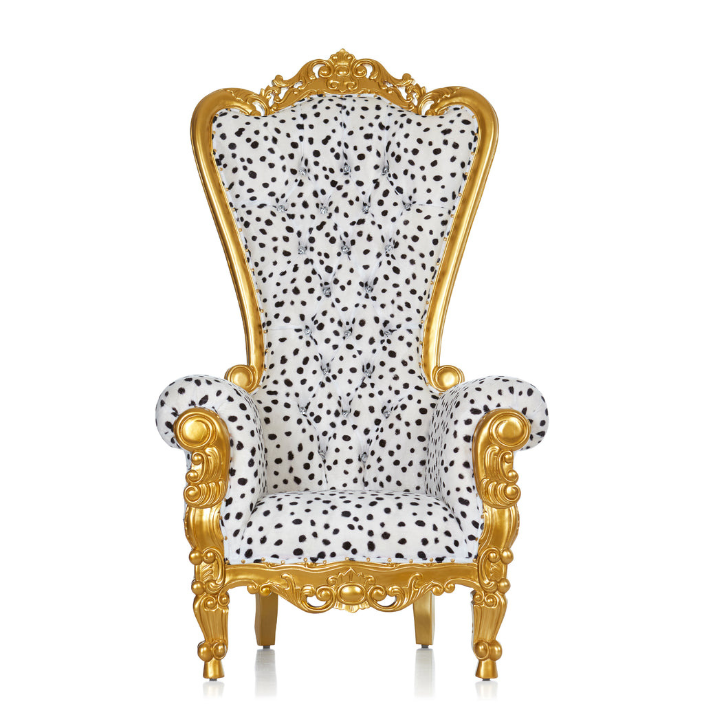 """Queen Tiffany"" Throne Chair - Dalmatian Print / Gold"