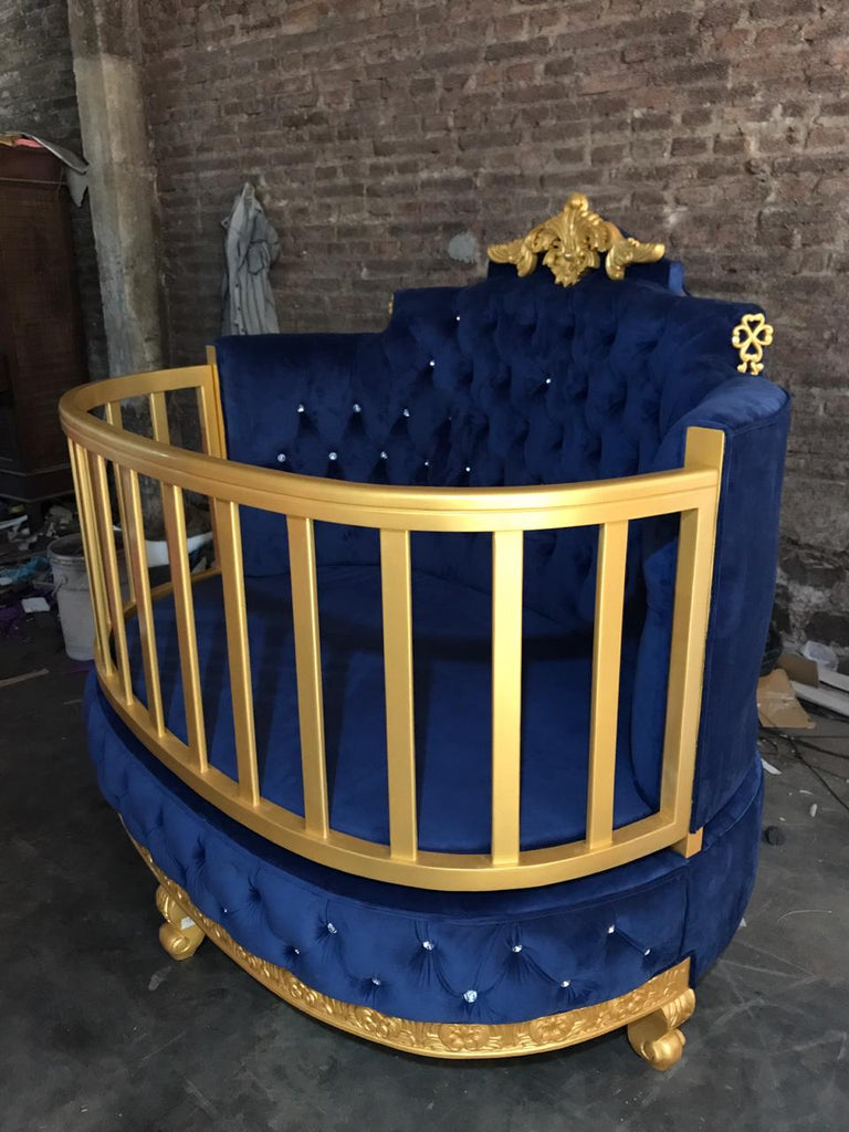 """PRE ORDER ROYAL BABY CRIB 60 DAY LEAD TIME"" Royal Blue / Gold"