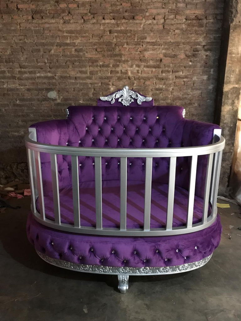 """PRE ORDER ROYAL BABY CRIB 60 DAY LEAD TIME"" Purple / Silver"
