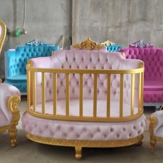 """PRE ORDER ROYAL CONVERTIBLE DAYBED"" Light Pink / Gold"