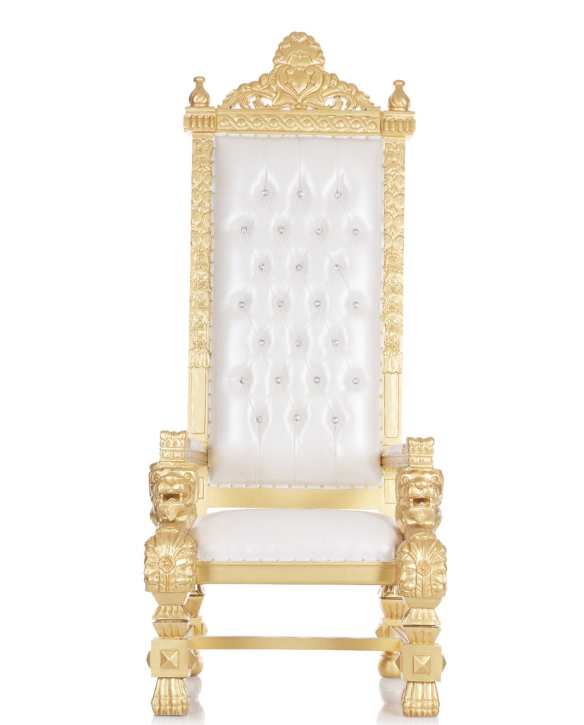 """King Kong"" 82"" Throne Chair - White / Gold"