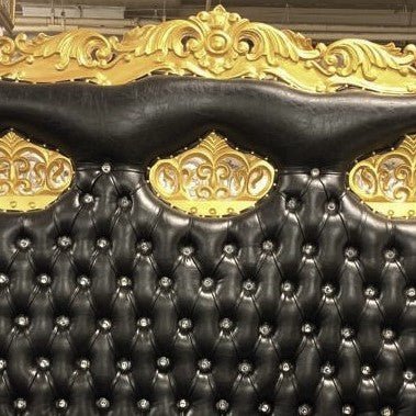 """Triple Crown Tiffany"" Love Seat Throne - Black / Gold"