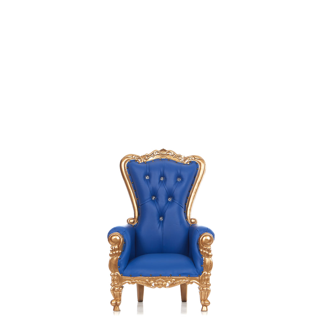 """Mini Tiffany"" Kids Throne Chair - Blue / Gold"