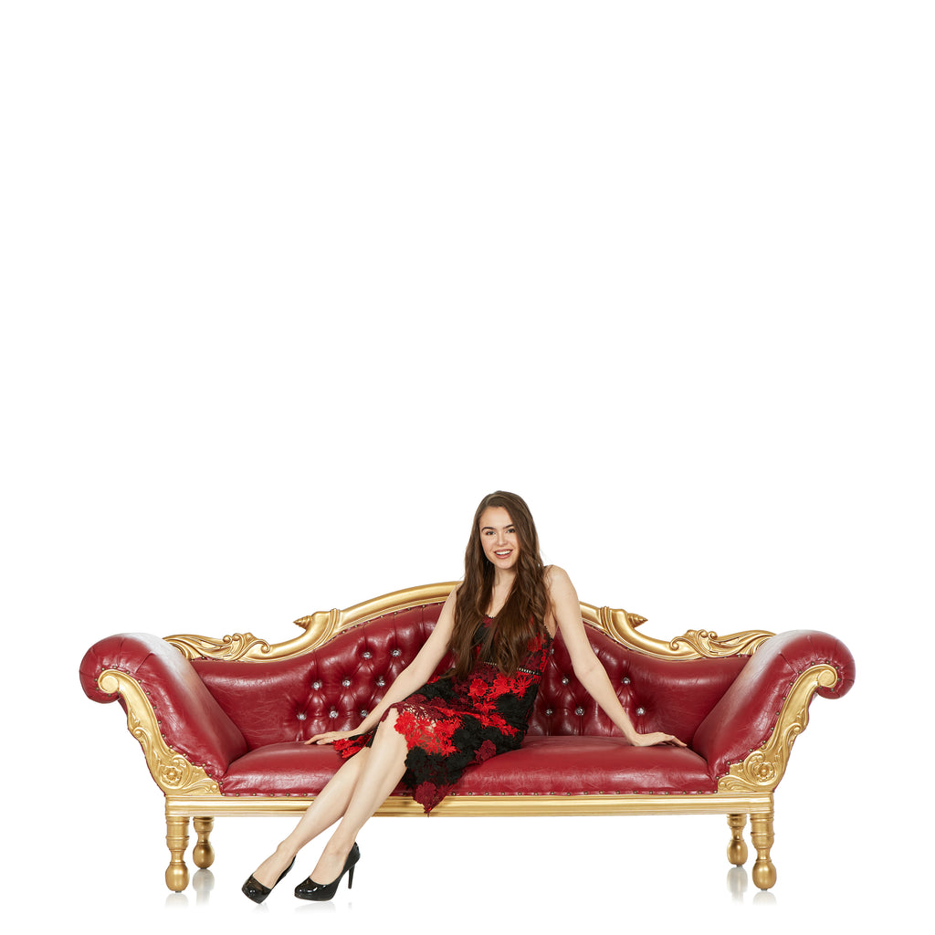 """Arabic Haflah"" Royal Chaise Lounge - Red /Gold"
