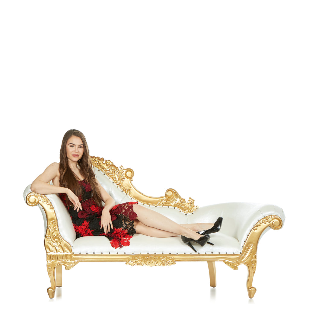 """Cleopatra"" Royal Chaise Lounge - White / Gold"