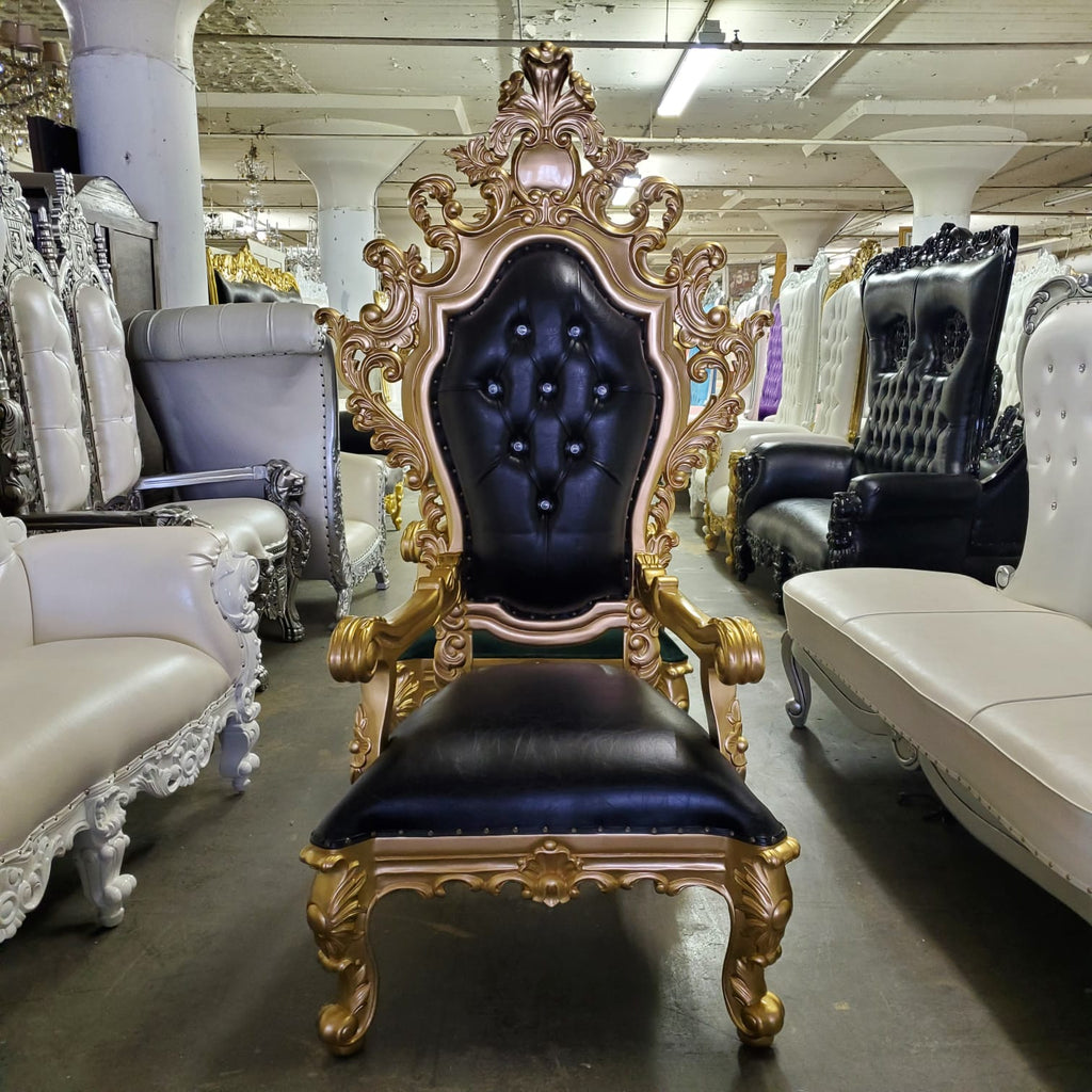 """King Darius"" Royal Throne Chair - Black / Gold"