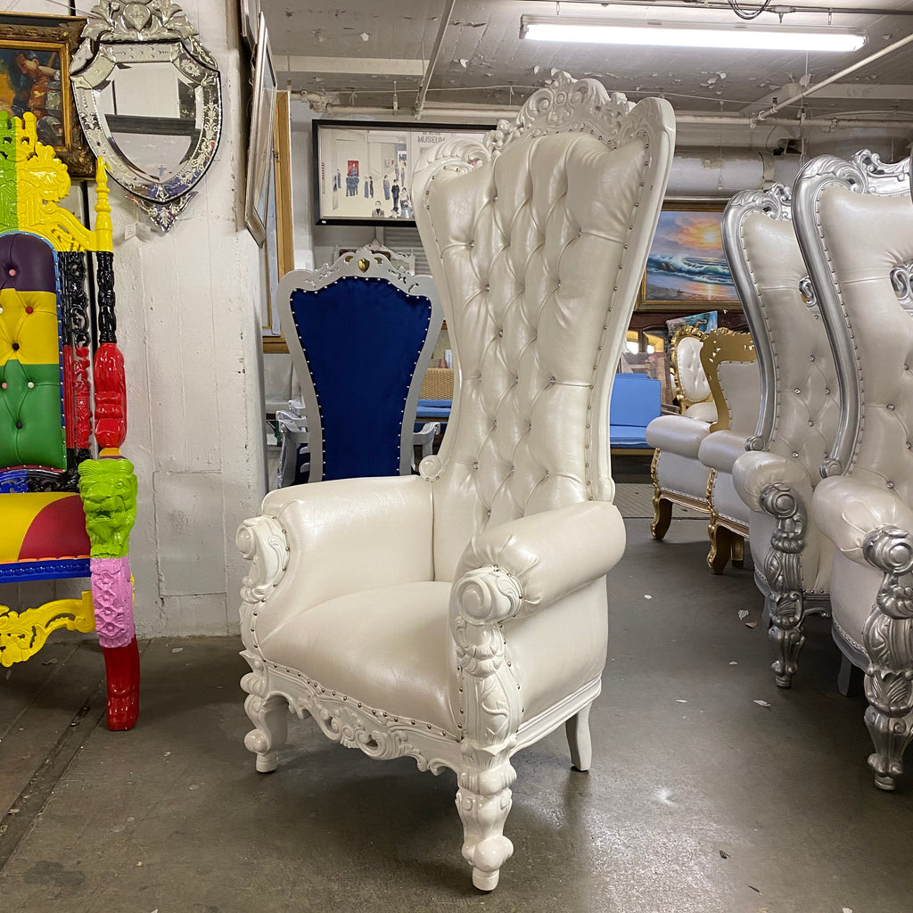 """Crown Tiffany"" Love Seat Throne Chair - White / Silver"