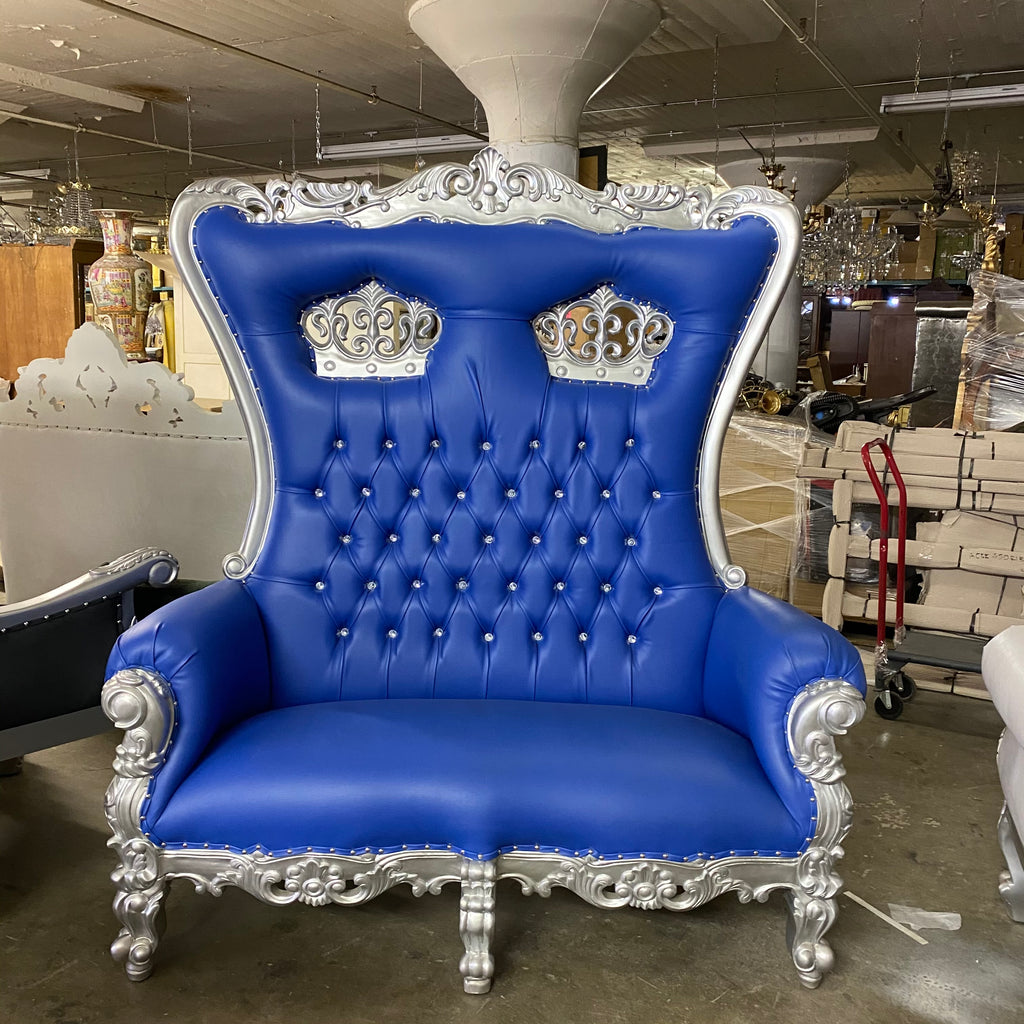 """Crown Tiffany"" Love Seat Throne Chair - Blue / Silver"