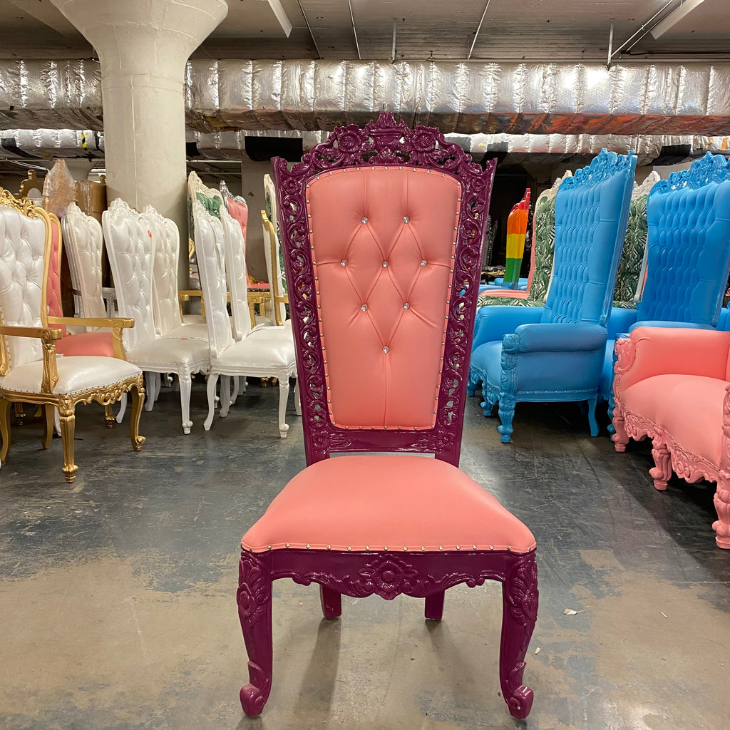 """Raquel"" Queen Throne Chair - Pink / Purple"