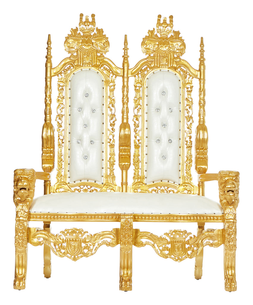 """King David"" Lion Throne Love Seat - White / Gold"