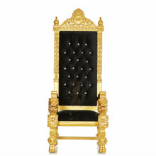 """King Kong"" Square Back Lion Throne - Black / Gold"