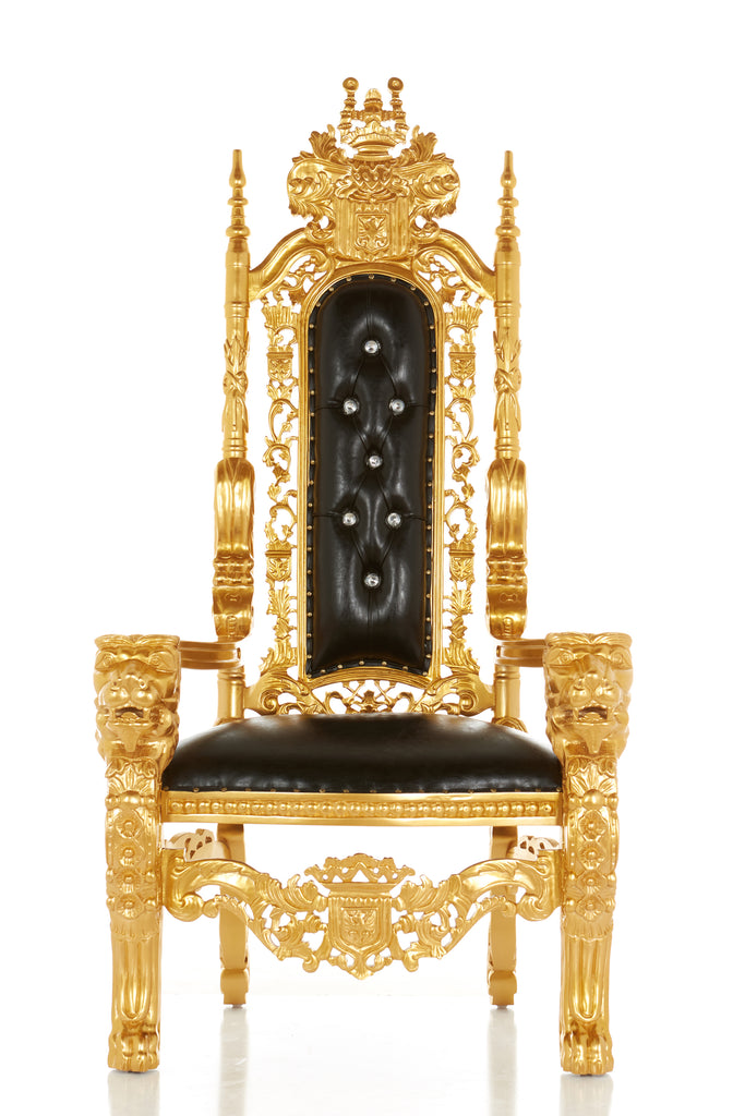 """King David"" Lion Throne Chair - Black / Gold"
