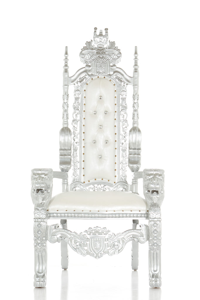 """King David"" Lion Throne Chair - White / Silver"