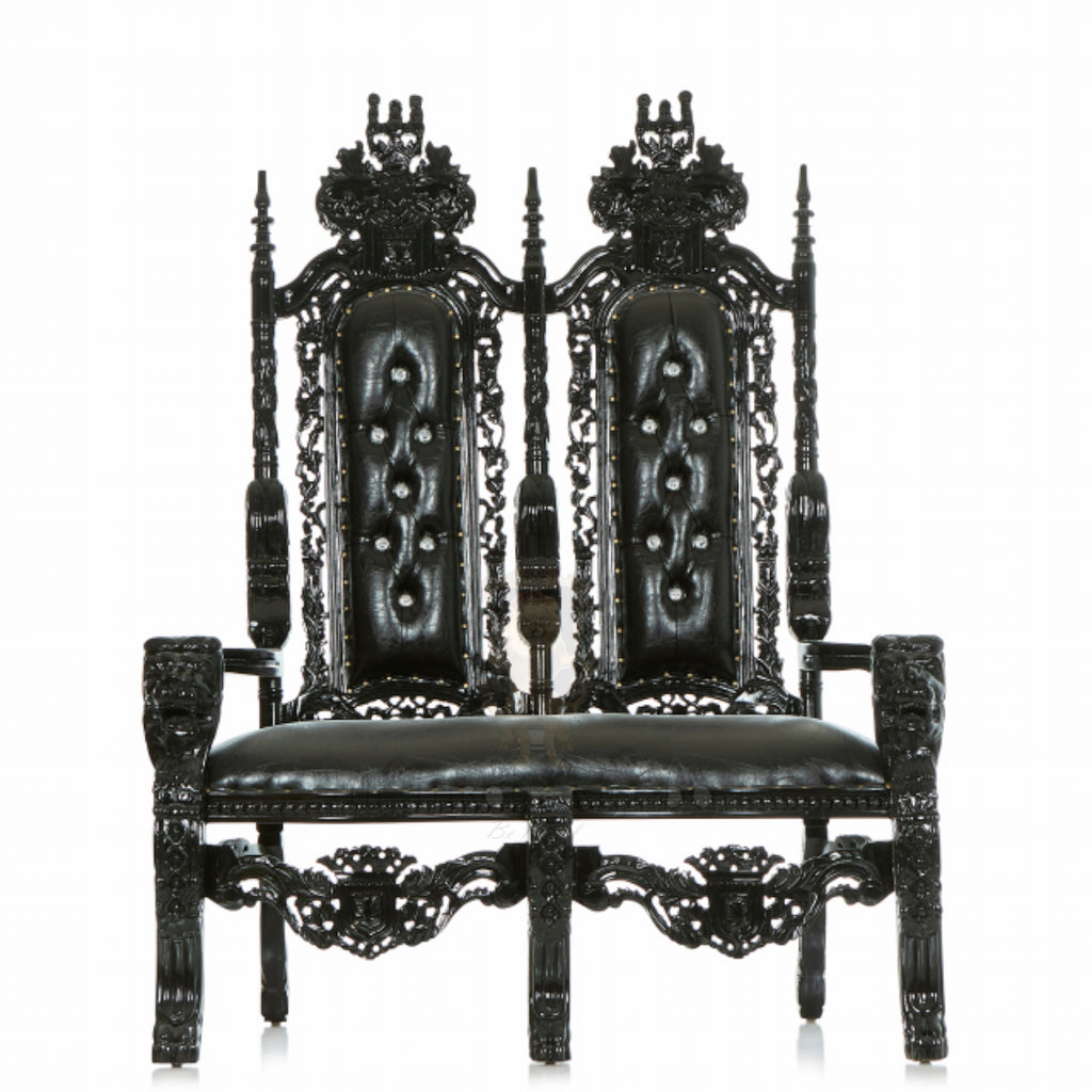"""King David"" Lion Throne Love Seat - Black / Black"