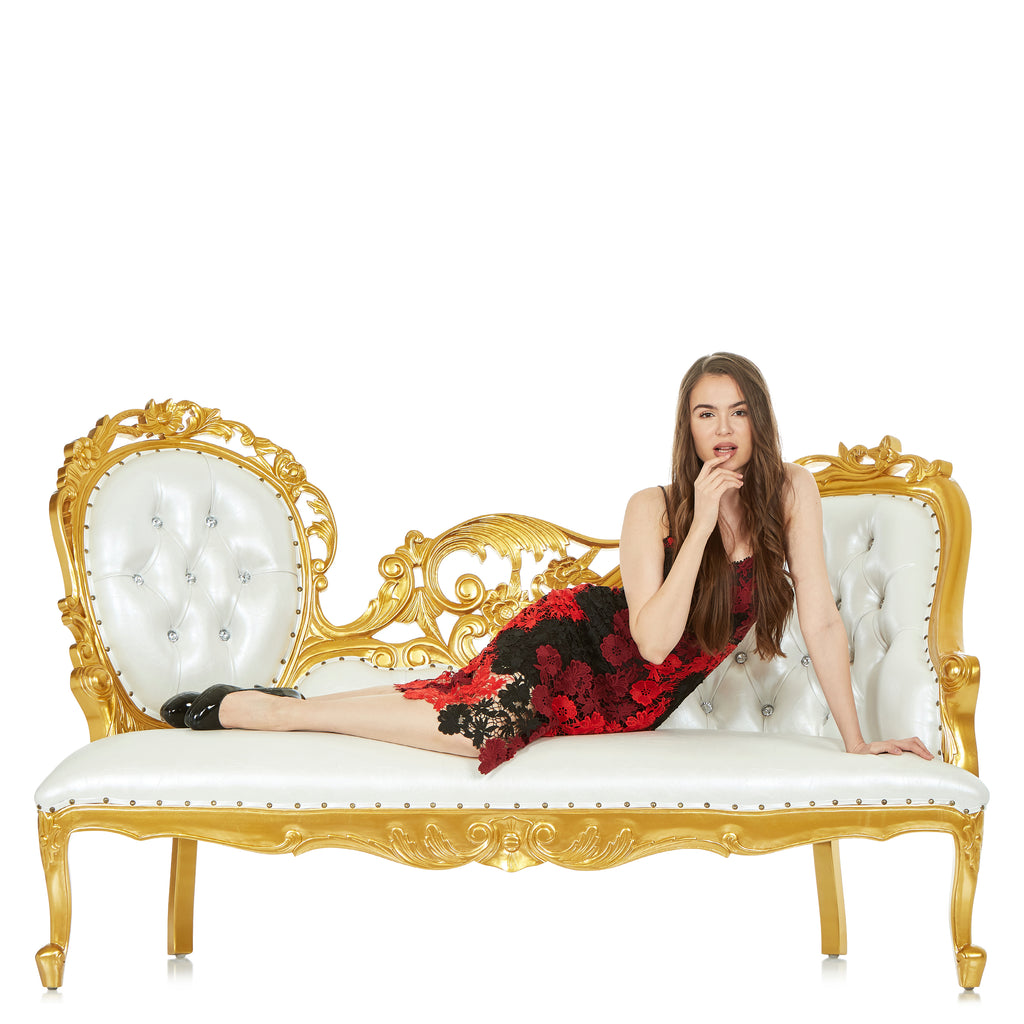 """Queen Natalia"" Royal Chaise Lounge - White / Gold"