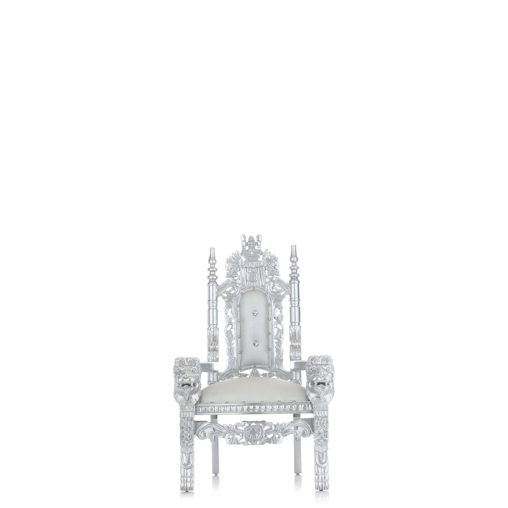 """Mini King David"" Lion Throne Chair - Silver / Silver"