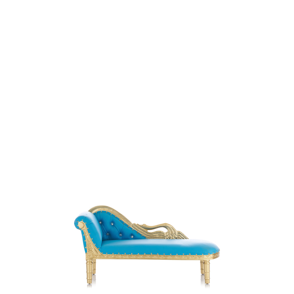 """Swan"" Mini Chaise Lounge - Light Blue / Gold"