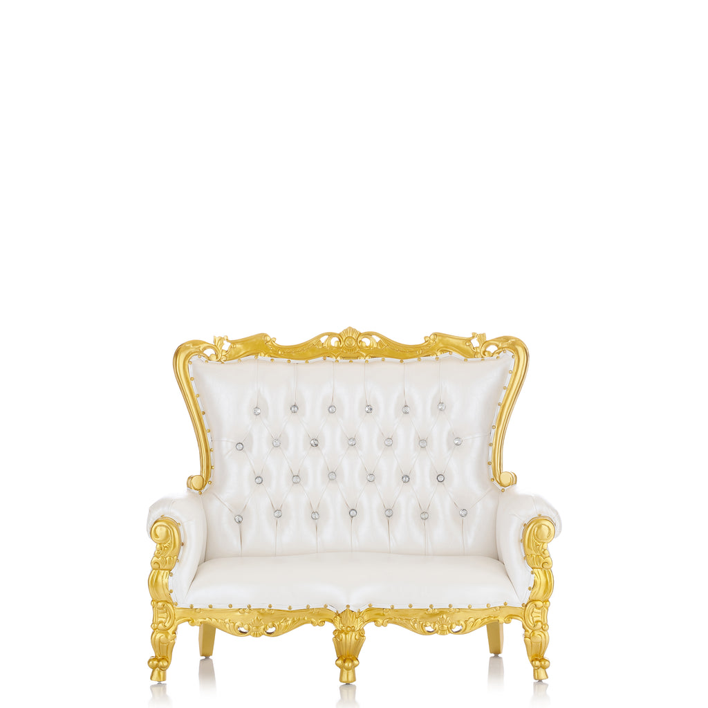 """Mini Tiffany"" Kids Love Seat Throne - White / Gold"