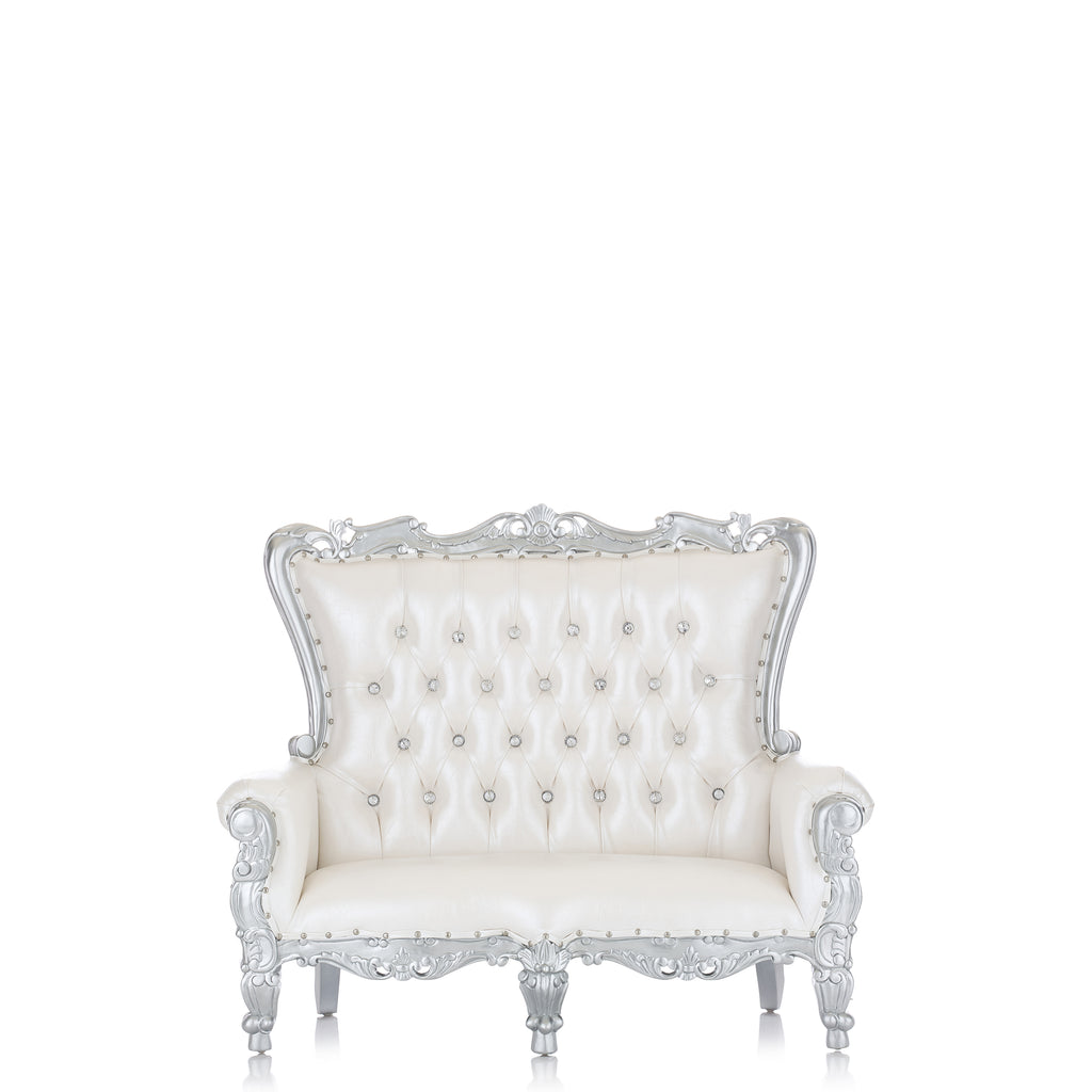 """Mini Tiffany"" Kids Love Seat Throne - White / Silver"