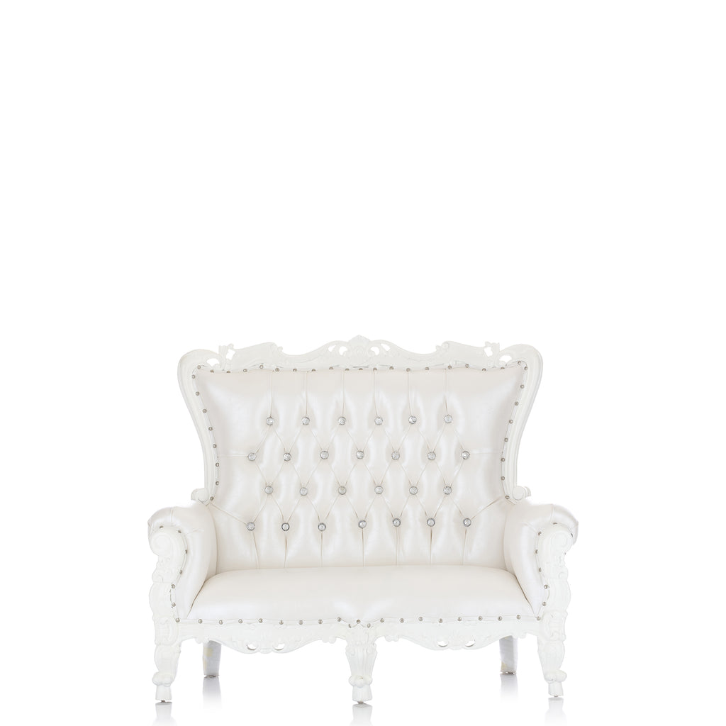 """Mini Tiffany"" Kids Love Seat Throne - White / White"