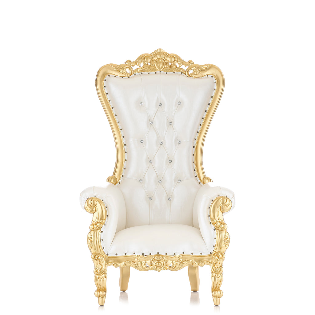 """Queen Tiffany 63"" Throne Chair - White / Gold"