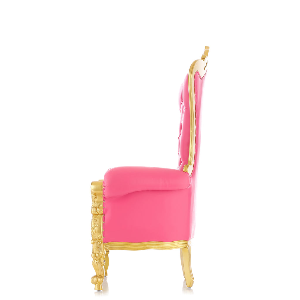 """Queen Tiffany 63"" Throne Chair - Pink / Gold"