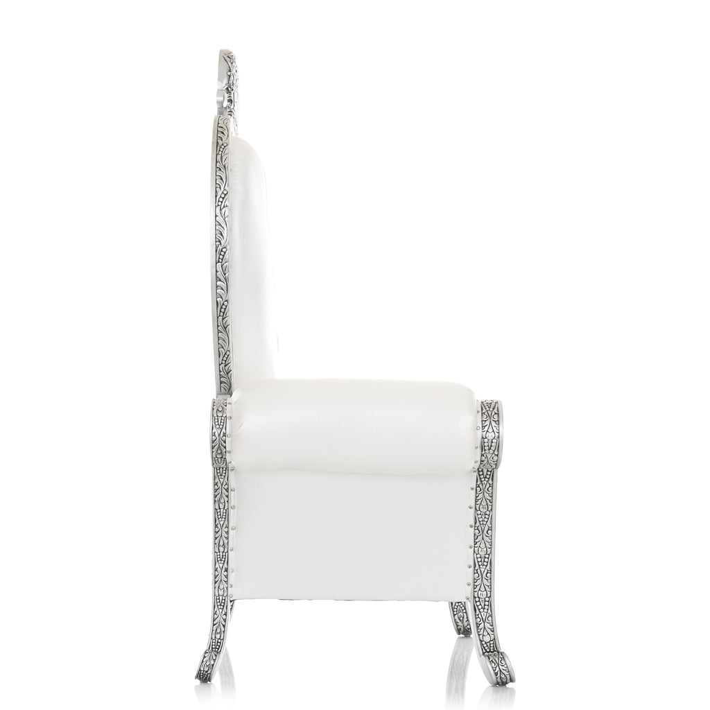 """Royal Valentine"" Party Throne Chair - White / Silver"