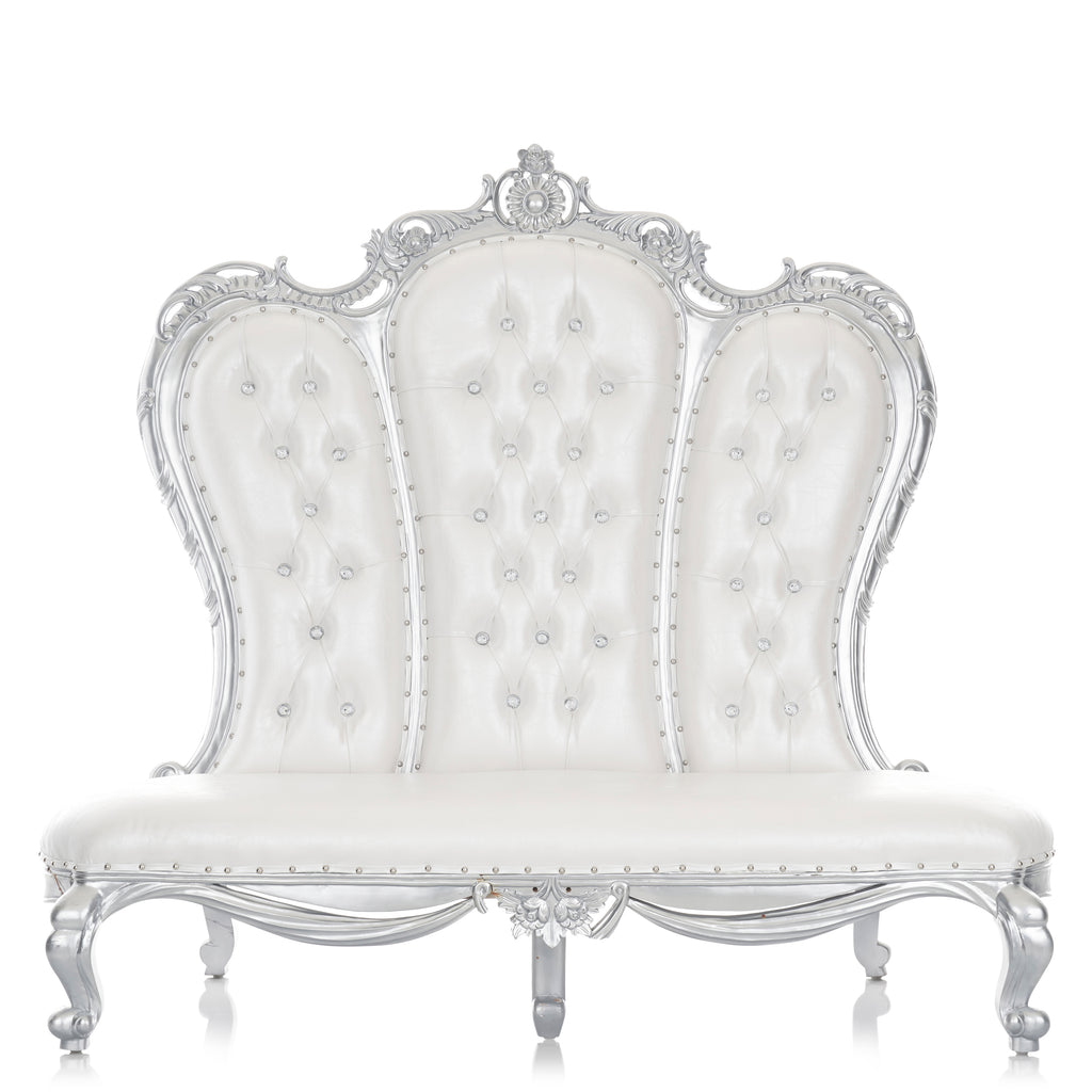 """Beatrice 64"" Party Love Seat - White / Silver"