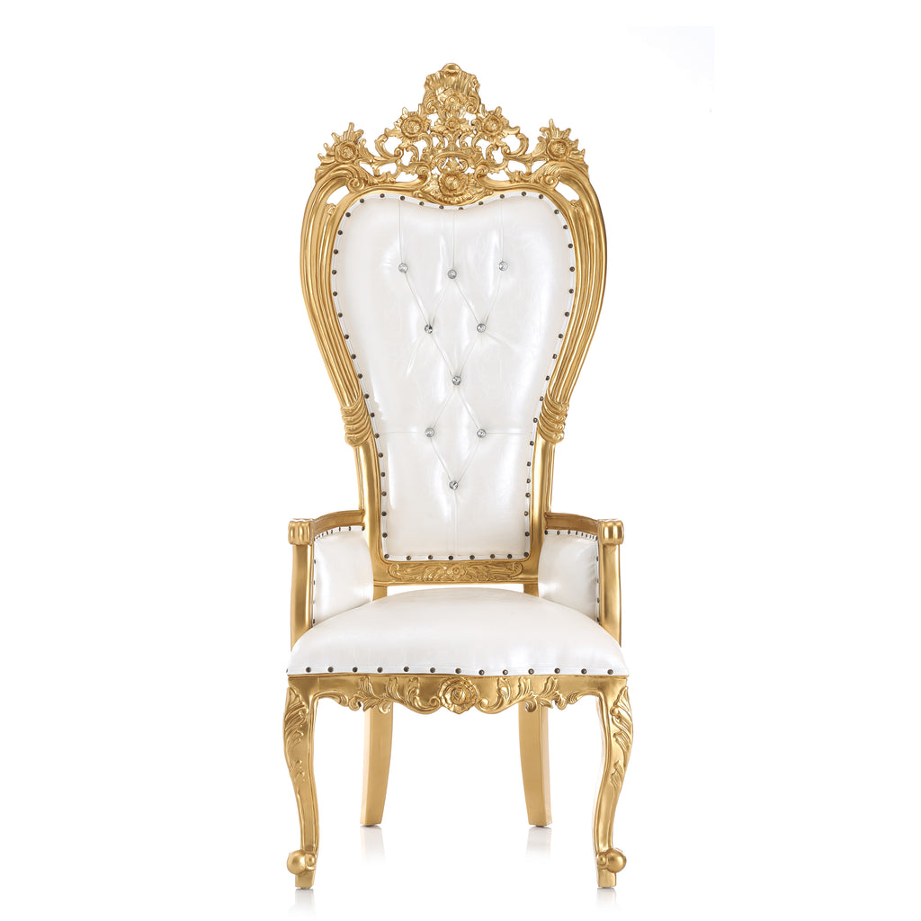 """Giovanni"" Party Throne Chair - White / Gold"