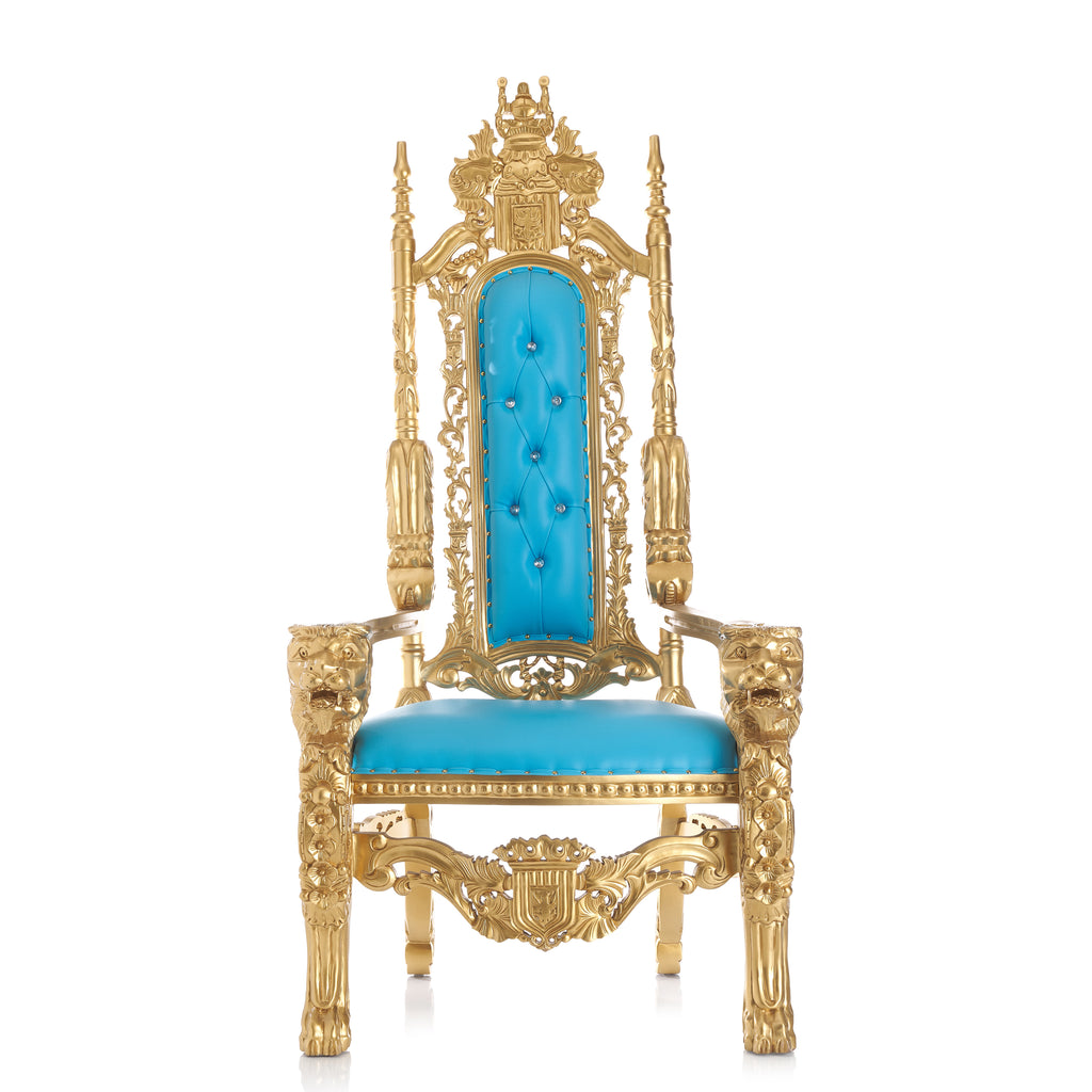 """King David"" Lion Throne Chair - Turquoise / Gold"