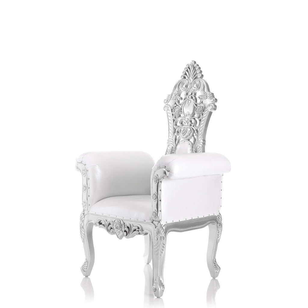 """Queen Amina 58"" Royal Throne Chair - White / Silver"