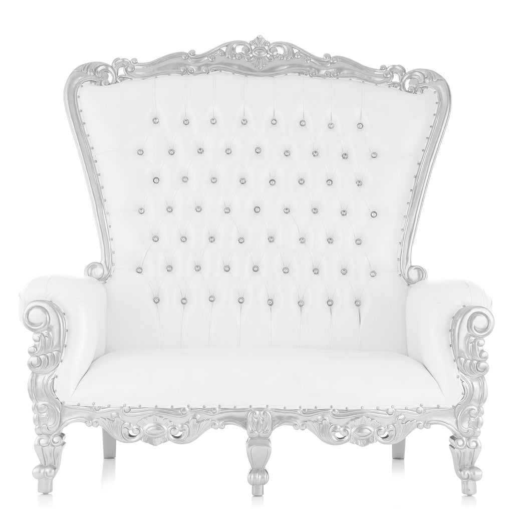 """Queen Tiffany"" Love Seat Throne - White / Silver"