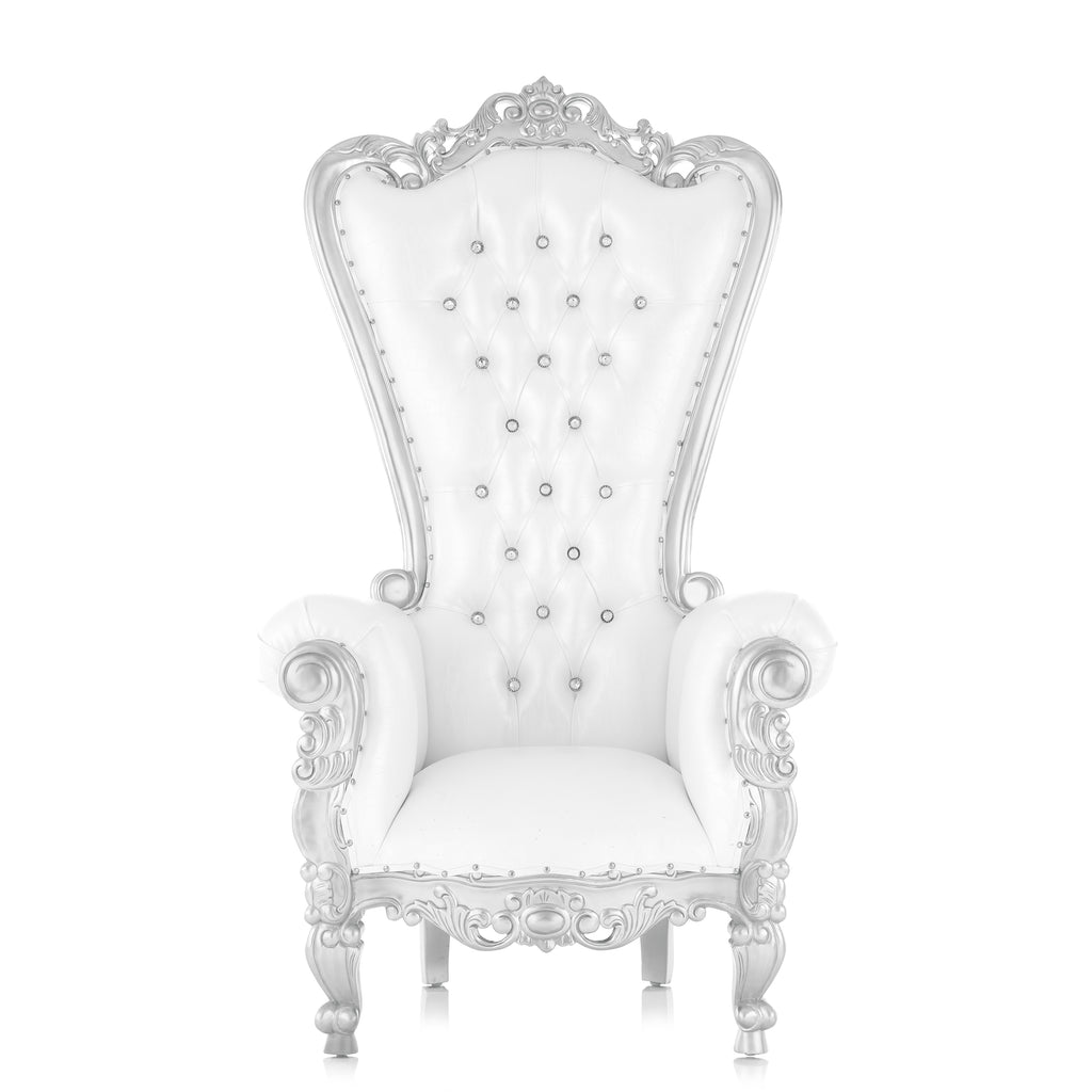 """Queen Tiffany"" Throne Chair - White / Silver"