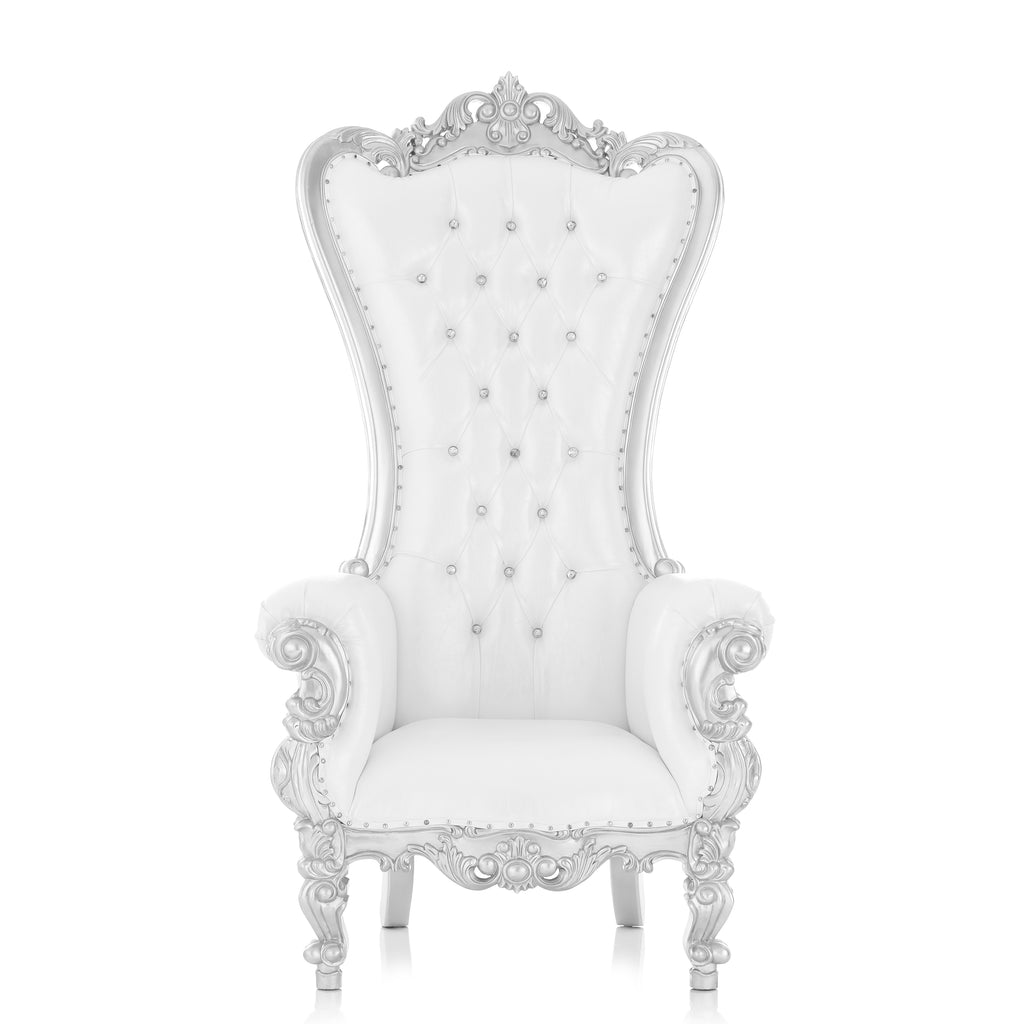 """Queen Tiffany 2.0"" Throne Chair - White / Silver"