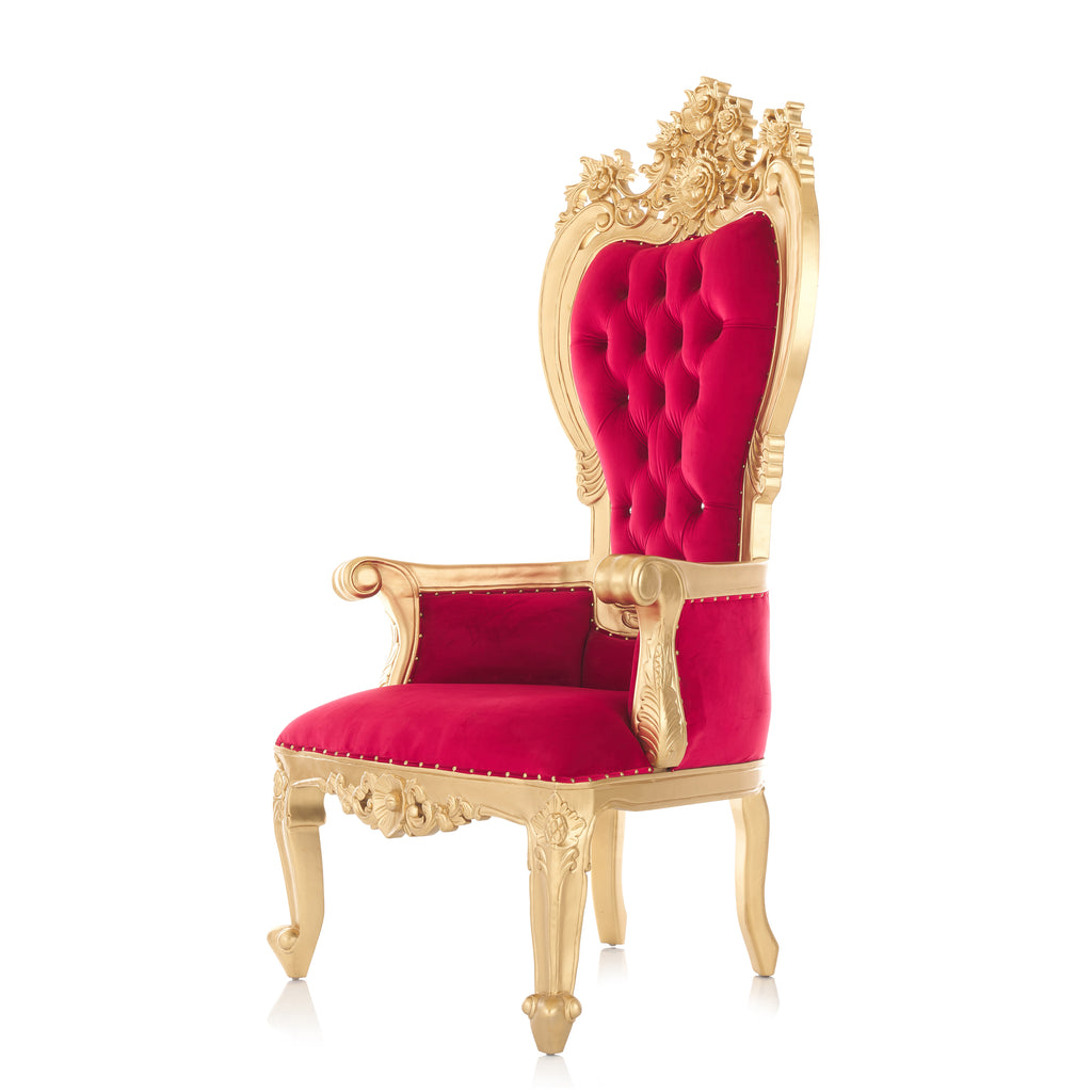 """Giovanni"" Party Throne Chair - Red Velvet / Gold"