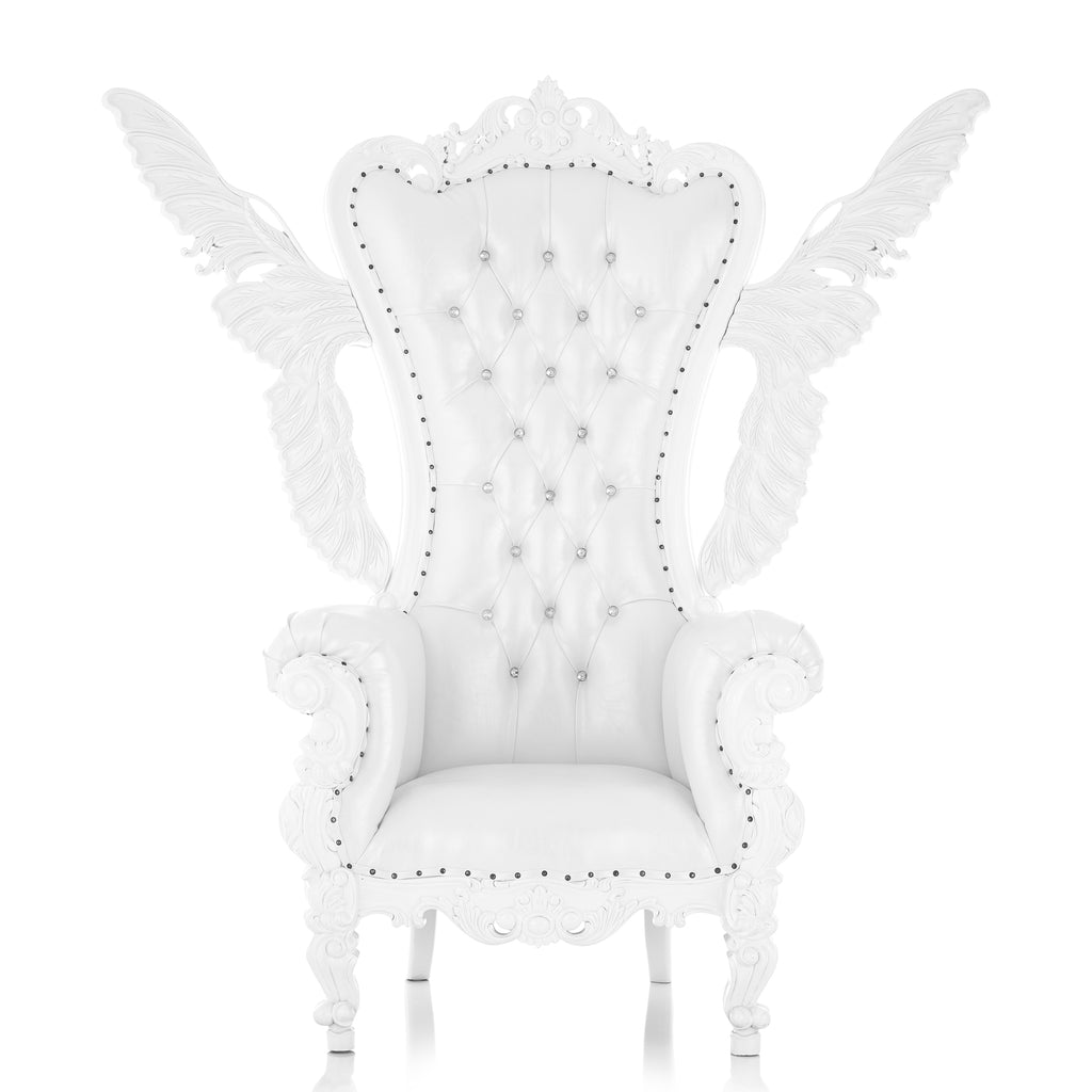 """Queen Tiffany Angel"" Throne Chair - White / White"