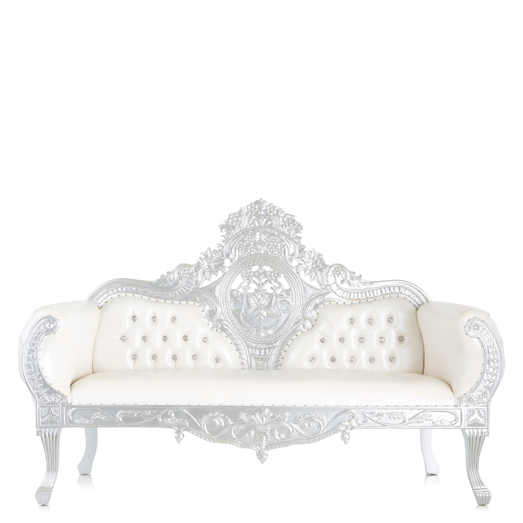 """Queen Anne"" Royal Love Seat - White / Silver"