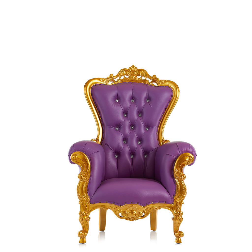 """Tiffany"" Mid Size Throne Chair - Purple / Gold"