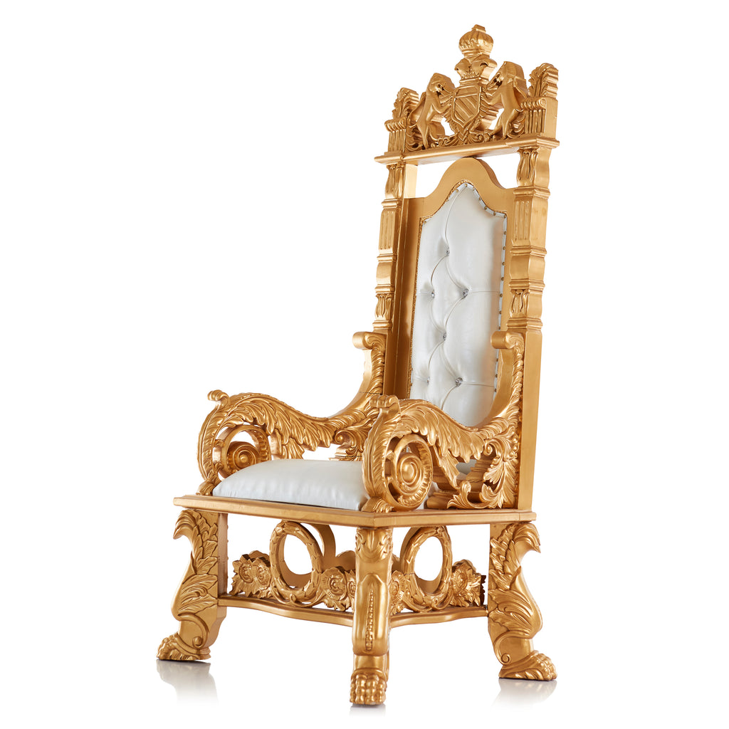 """King Stephen"" Throne Chair - White / Gold"