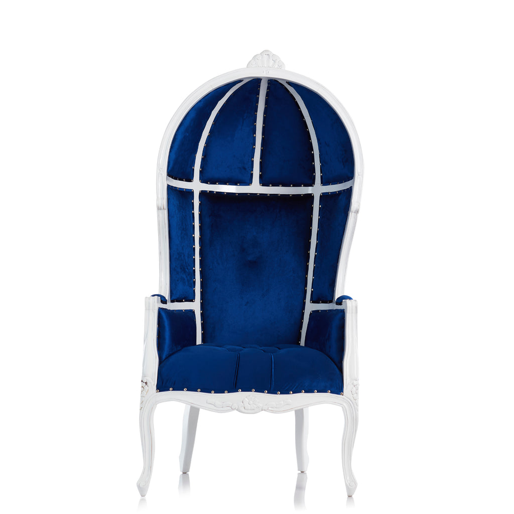 """Hooded Canopy"" Bridal Throne Chair - Blue / White"