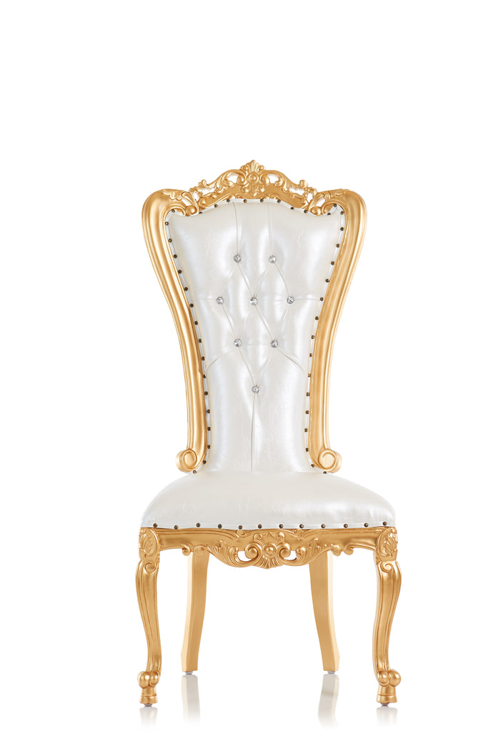 """Valentina"" Throne Chair - PAIR OF 2 - White / Gold"