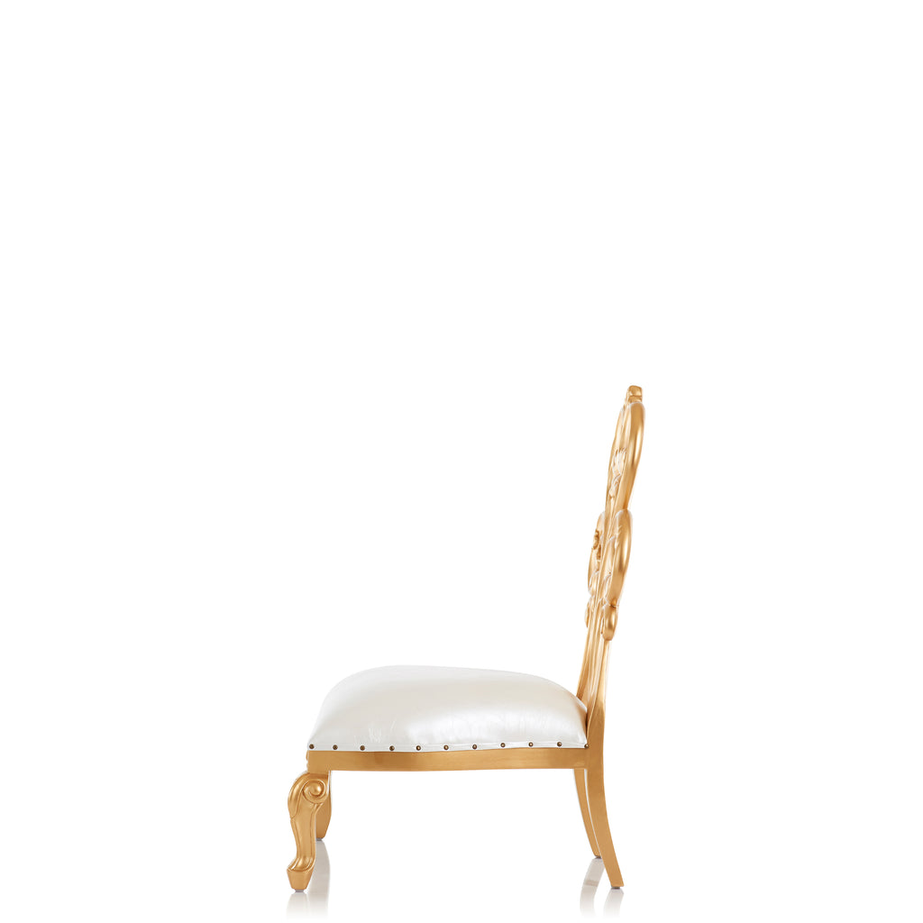 """Lillian"" Low Down Accent Chair - White / Gold"