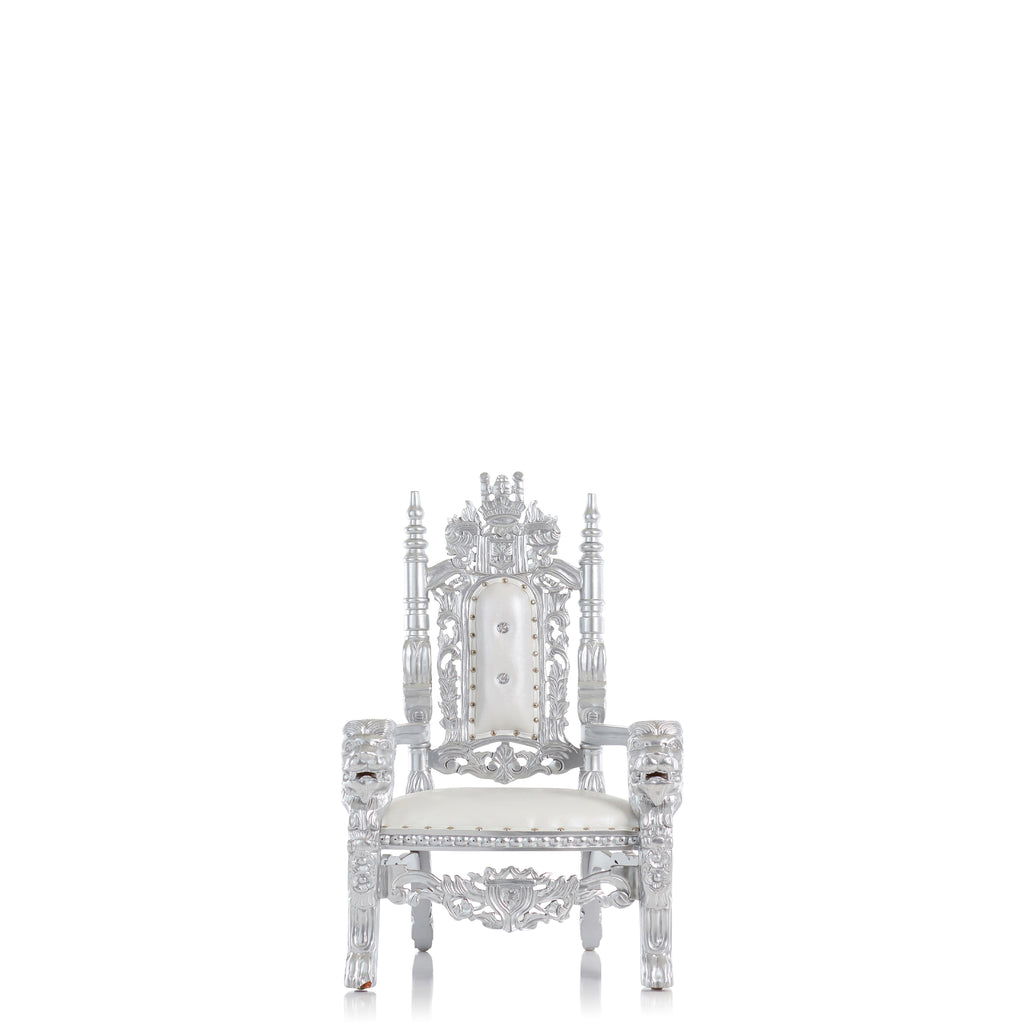 """Mini King David"" Lion Throne Chair - White / Silver"