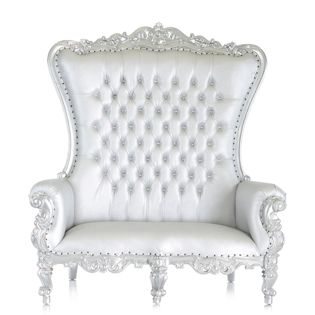 """Queen Tiffany"" Love Seat Throne Chair - Silver / Silver"
