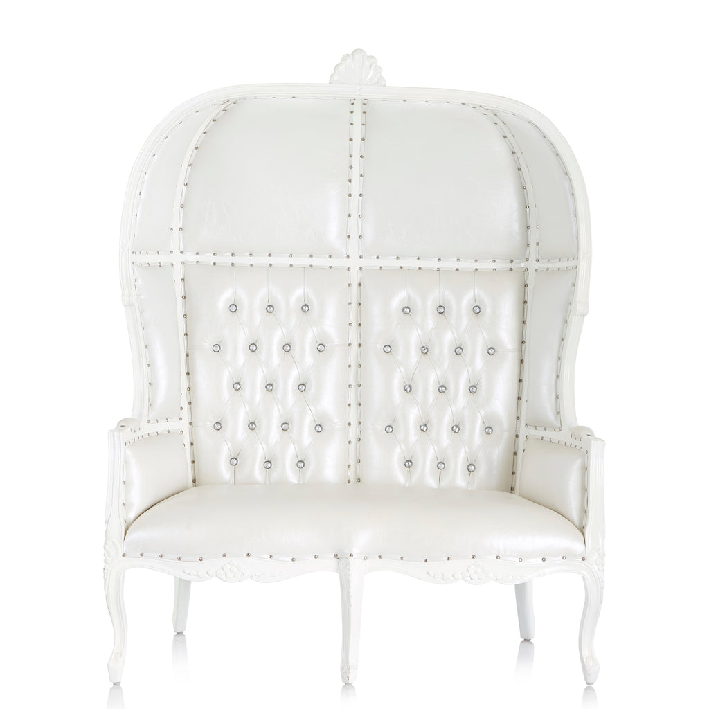 """Hooded Canopy"" Love Seat Throne - White / White"