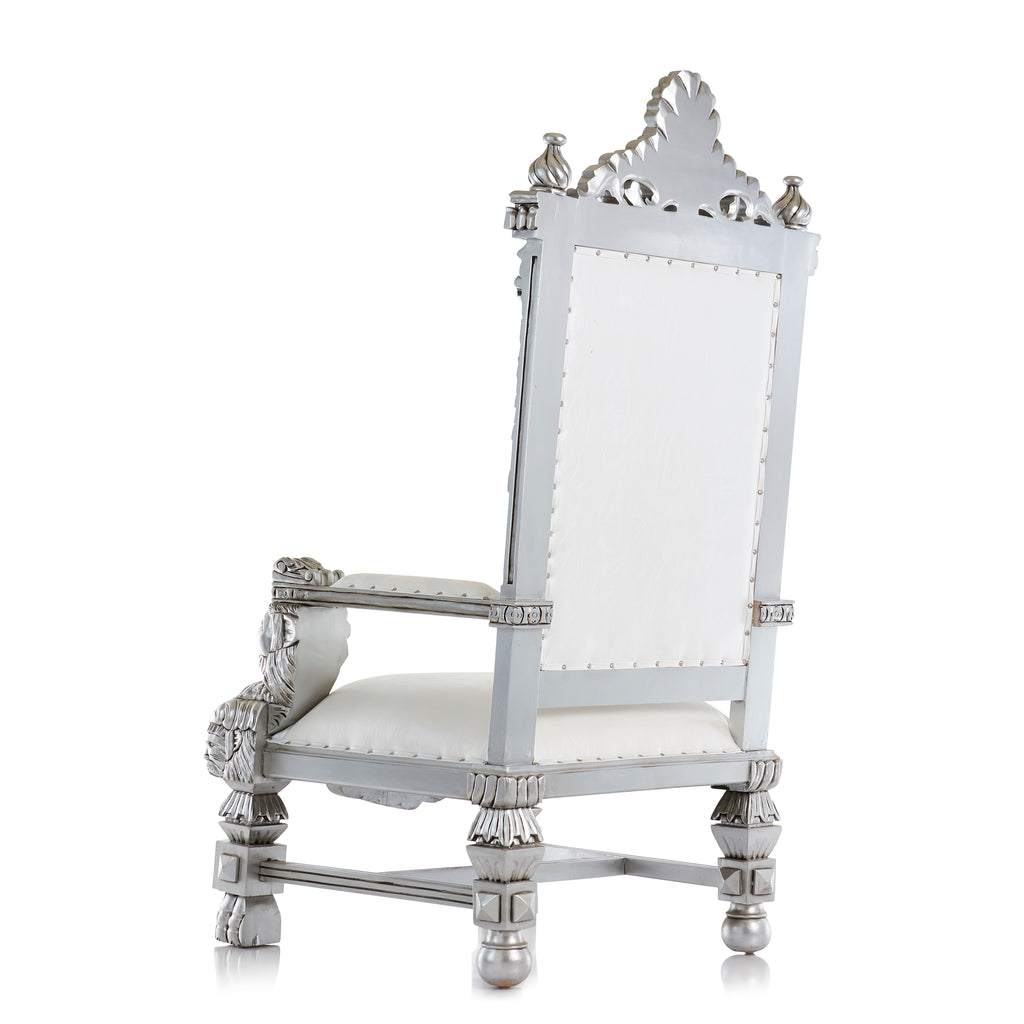 """King Samuel"" Lion Throne Chair - White / Silver"