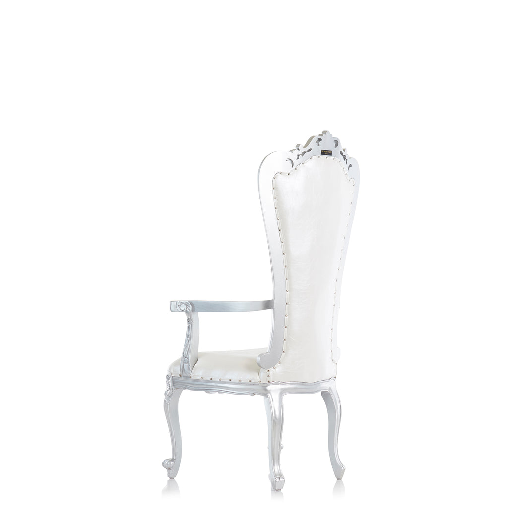 """Valentina"" Throne Chair - White / Silver"