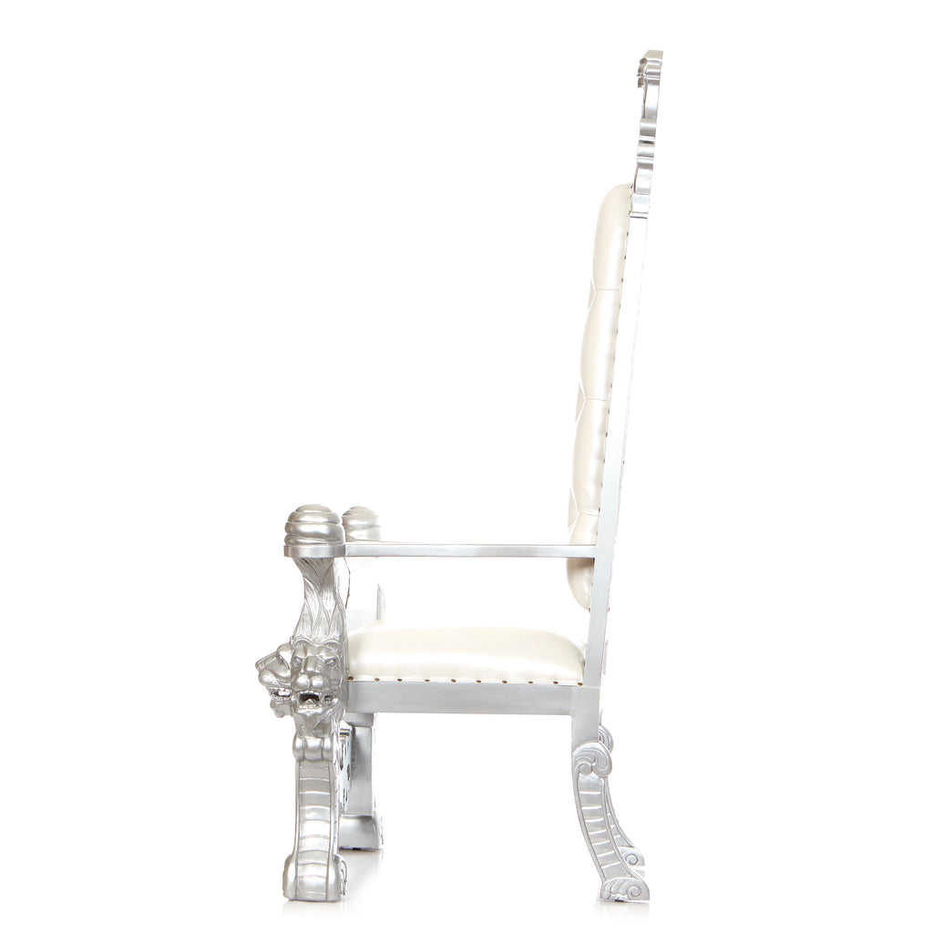 """King Solomon"" Royal Throne Chair - White / Silver"