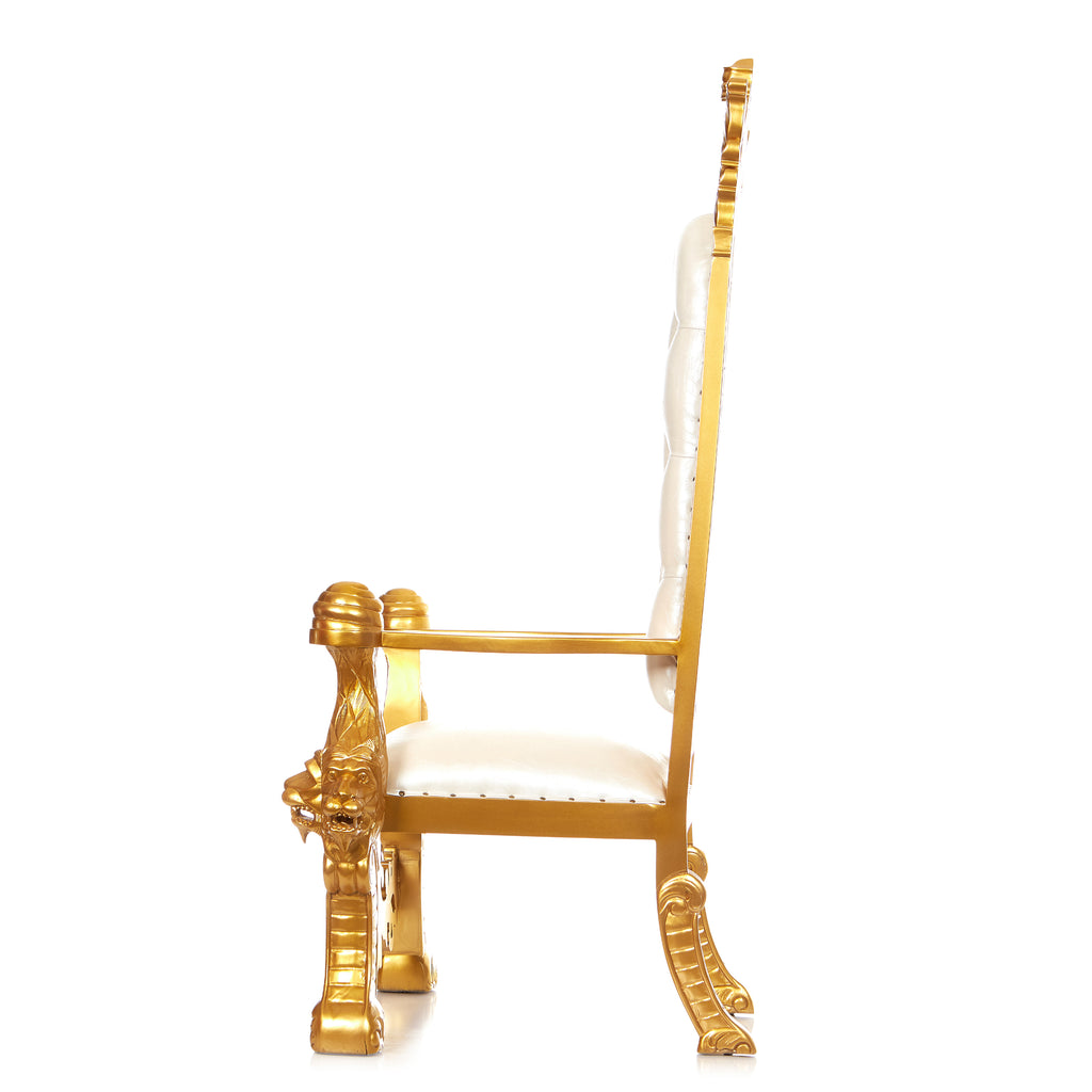 """King Solomon"" Royal Throne Chair - White / Gold"